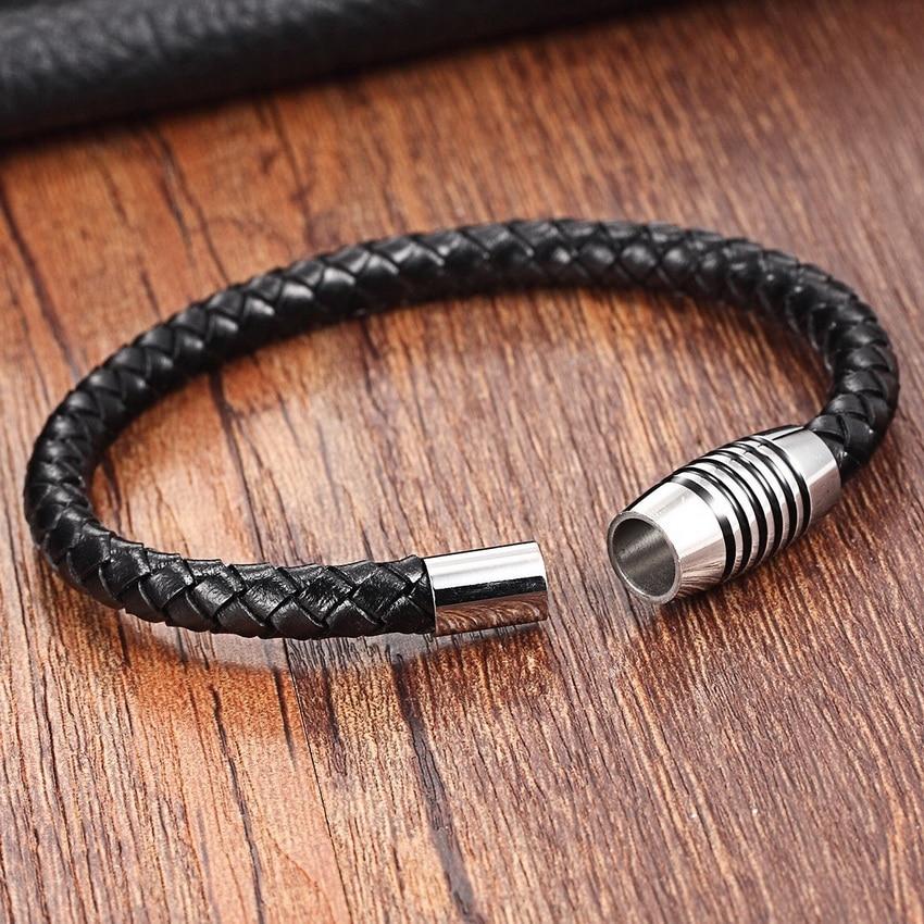 XQNI Chain Bracelet Men Genuine Leather Bracelets Leather Bracelet for women Male Magnet Stainless Steel Rope Bracelets for men