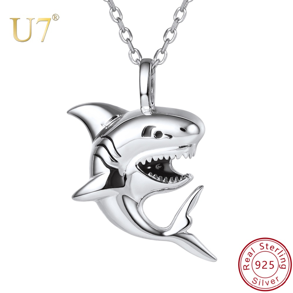 U7 Brand 925 Sterling Silver Shark Charm Necklace Sea Animal Pendant & Chain Men Women Gift 2018 New Fashion Jewelry WholesaleU7 Brand 925 Sterling Silver Shark Charm Necklace Sea Animal Pendant & Chain Men Women Gift 2018 New Fashion Jewelry Wholesale
