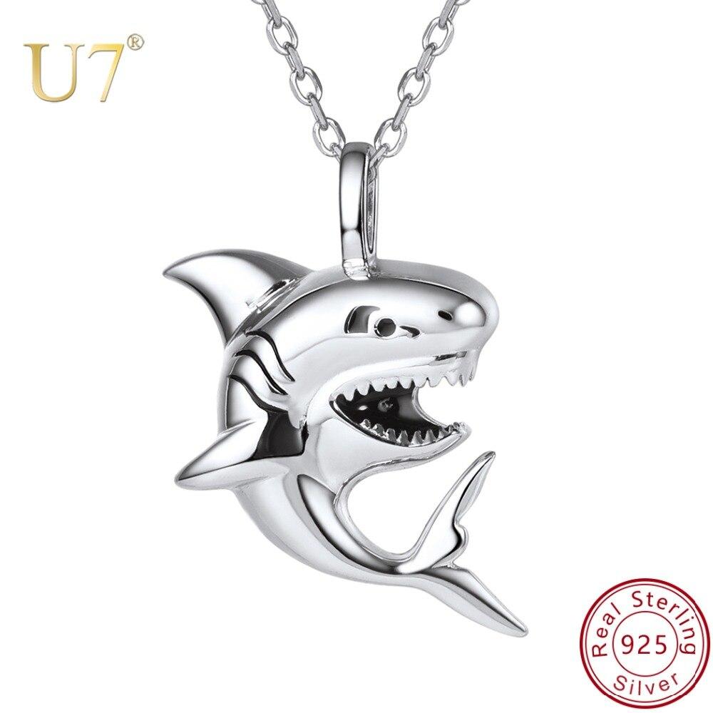 U7 Marque 925 Sterling Argent Requin Charme Collier Mer Animal Pendentif et Chaîne Hommes Femmes Cadeau 2018 Nouveaux Bijoux De Mode en gros