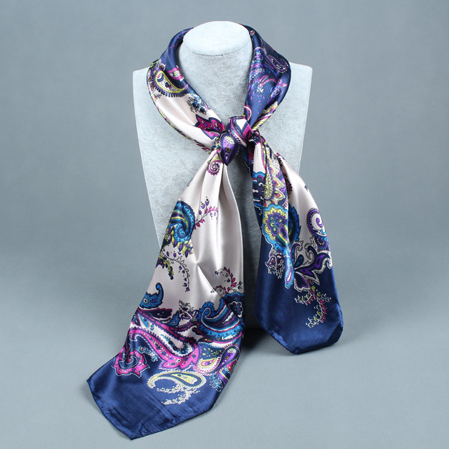 Trendy Silk Satin Polyester Women Big Square Scarves