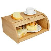 Natural Bamboo Bread Holder Food Storage Container Kitchen Roll Top Bread Storage Box Home Kitchen Multi function Sundries Box