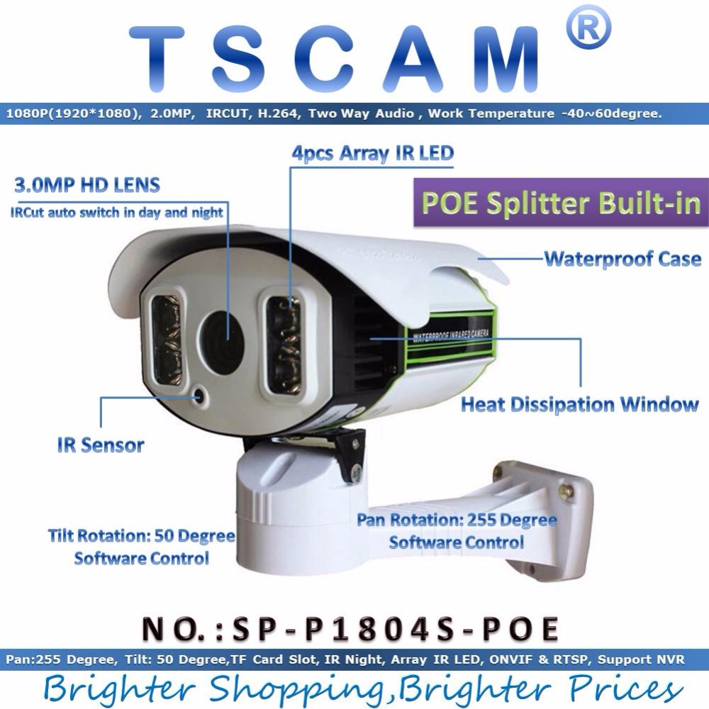 TSCAM new SP P1804S POE ONVIF Network IP Camera 1080P 2 0MP Full HD Pan Tilt