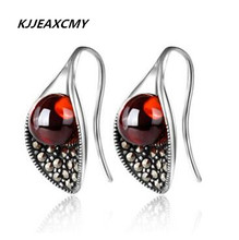 KJJEAXCMY fine jewelry 925 Sterling Silver Garnet Earrings Calla Flower New Lady