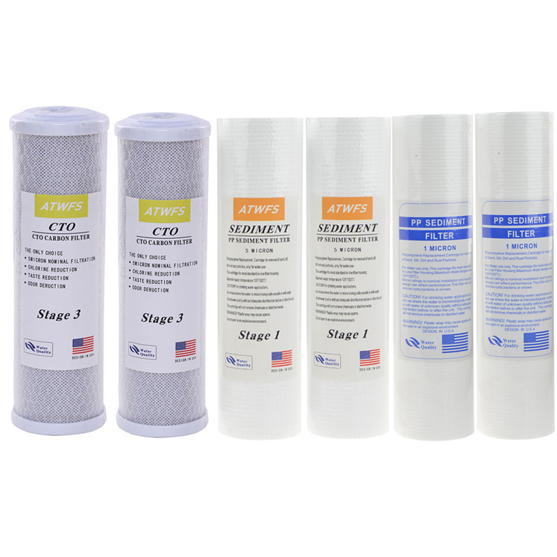 Water Filter Cartridge 2pcs 5Micron PPF Cotton 2pcs 1Micron PPF Cotton 2 pcs Activated Carbon Cartridge