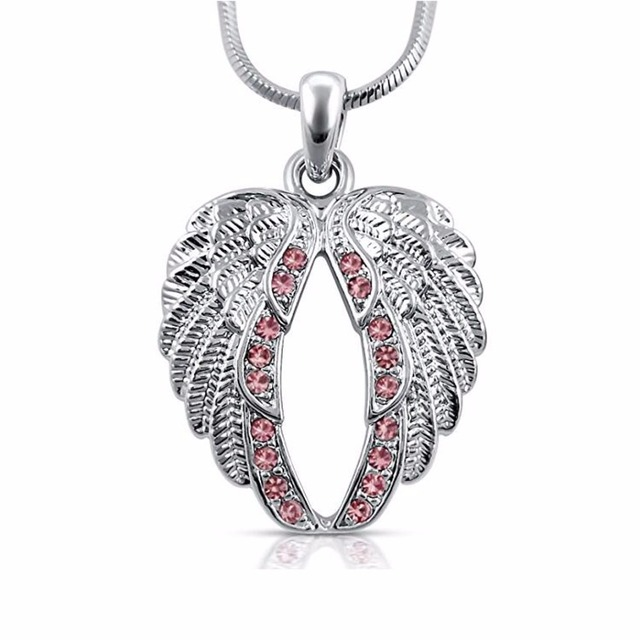 bef237cd7a3 Small Crystal Guardian Angel Wings/Wing Pendant Necklace Fashion Jewelry  Gift