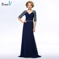 Dressv Long Blue Mother Of The Bride Dress V Neck A Line Half Sleeves Beading Ruched