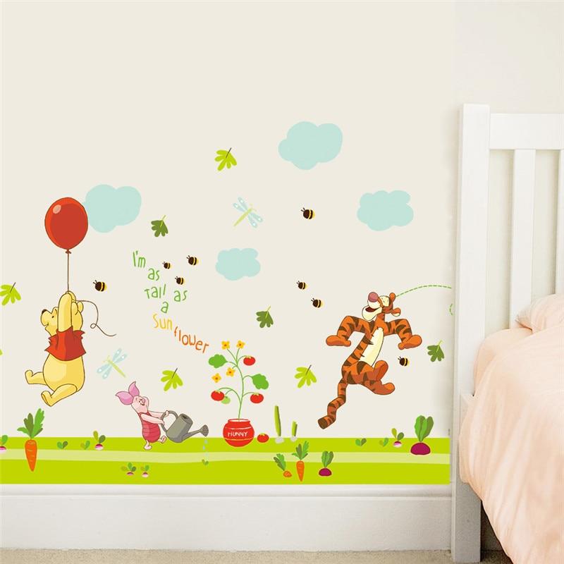 US $2.29 8% OFF|Cartoon Winnie Pooh Tiger wandaufkleber für kinderzimmer  jungen mädchen wohnkultur wandtattoos dekoration papier-in Wandaufkleber  aus ...