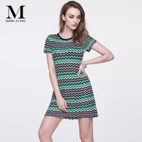 Italian Fashion Style High quality 2018 Summer Brand New Short Sleeves Knitted Women's Color Wave Stripe Runway Dresses One Size