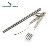 Boundless Voyage 3pcs Titanium Fork Titanium Spoon Titanium Chopsticks Ultralight Ti1529B