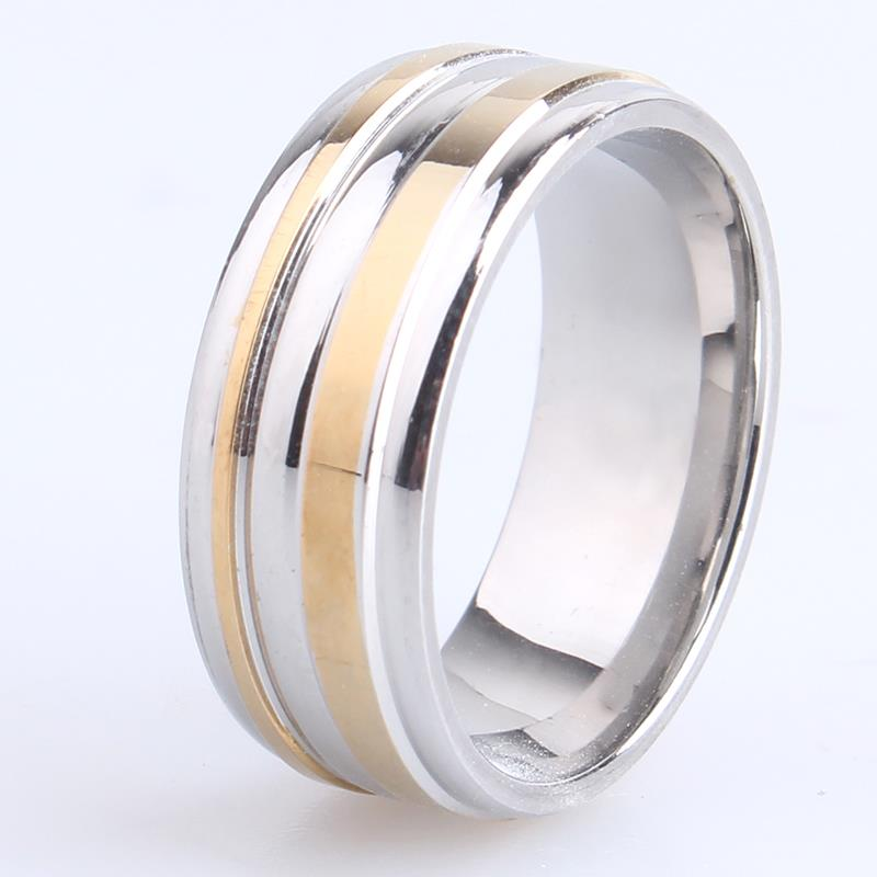 free shipping 8mm Silver background gold color cross stripes 316L Stainless Steel finger ...