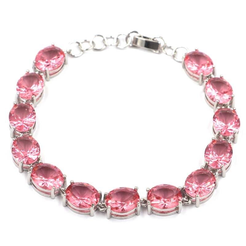Bracelet en argent moderne rose pour femme 7.0-7.5in 11x9mm