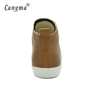 Image 5 - CANGMA Del Progettista della Donna Casual Scarpe Da Ginnastica Per Le Ragazze Scarpe di Cuoio Genuini Metà Donne di Età Formatori Calzature Femmina Marrone