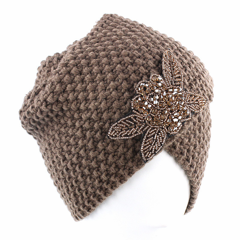 Image 3 - Muslim Winter Turban Hat Warm Print Rhinestone Knit Cap Beanie  Sleep Chemo Turban Headwear Cancer Patients Hair AccessoriesWomens  Hair Accessories