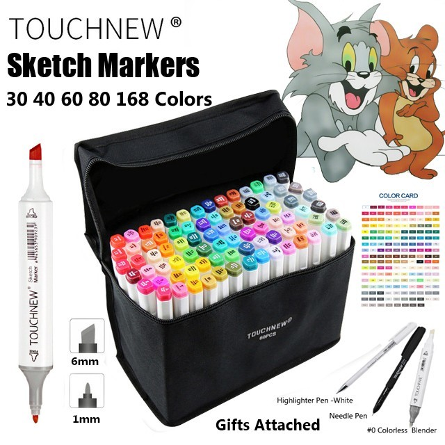TOUCHNEW 30 40 60 80 168 Color Art Marker Pen Artista los Marcadores de doble Cabeza Conjunto Pincel de Acuarela Pluma Trazadores de líneas De Dibujo