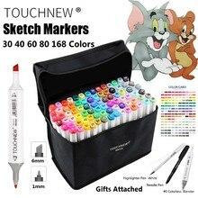 TOUCHNEW 30 40 60 80 168 Kleur Art Marker Pen Kunstenaar Dual Head Markers Schets Set Aquarel Borstel Pen Liners voor Tekening