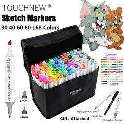Touchnew 30 40 60 80 168 cor arte marcador caneta artista dupla cabeça marcadores esboço conjunto aquarela escova caneta forros para desenho