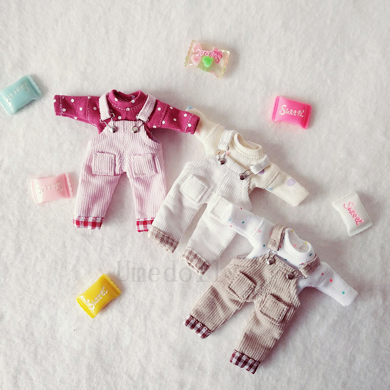 1PCS Lovely OB11 Doll Corduroy Suspenders Pants For Obitsu 11Doll Clothes Overall Accessories