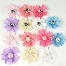 HL 20PCS/lot 35MM With Stone Organza Ribbon Flowers Handmade Flowers Wedding Decorative Apparel Hair Sewing Appliques DIY Craft(China)