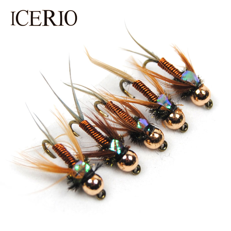 ICERIO 12PCS Copper John Fly Brass Head Nymph Stone Fly Fishing Trout Bait #12 image