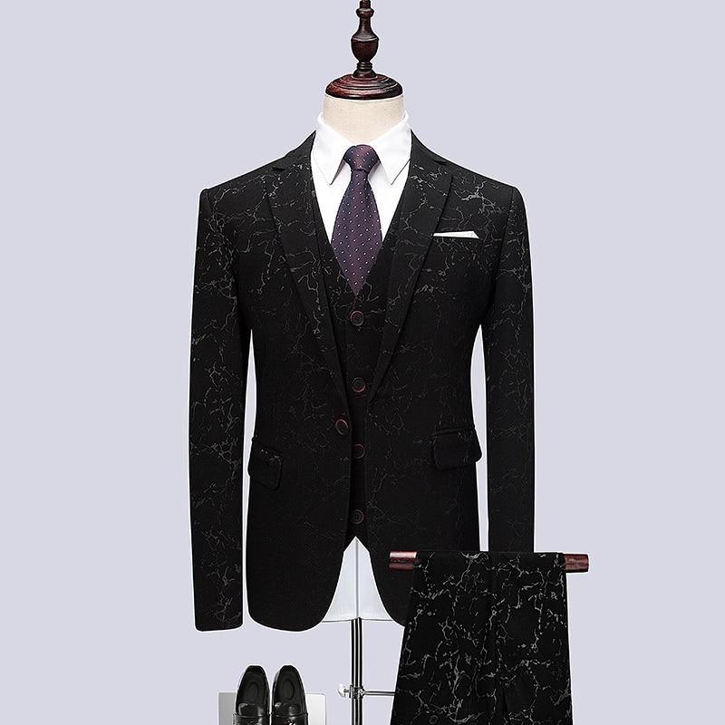3PC Brand Men Suits Hot Sale Plus Size Gentlemen Casual Tuxedo One Button Stylish Men Floral Suit Groom Wedding Dress Suits Men