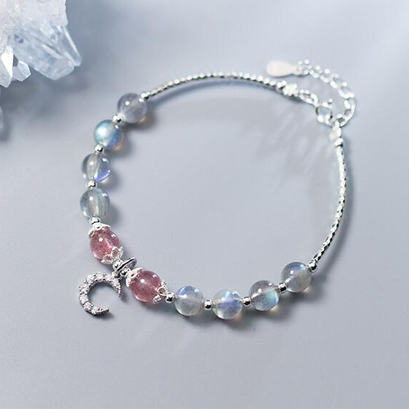 Ruifan Moon Natural Labradorite/Moonstone Strawberry Quartz 925 Sterling Silver Strand Bracelets for Women Ladies Jewelry YBR106