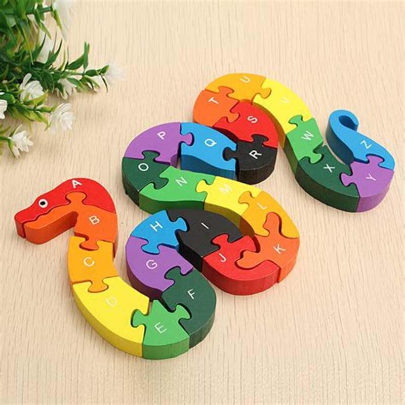1 Set Wooden Snake Shape Puzzle Toys For Children Cartoon ...