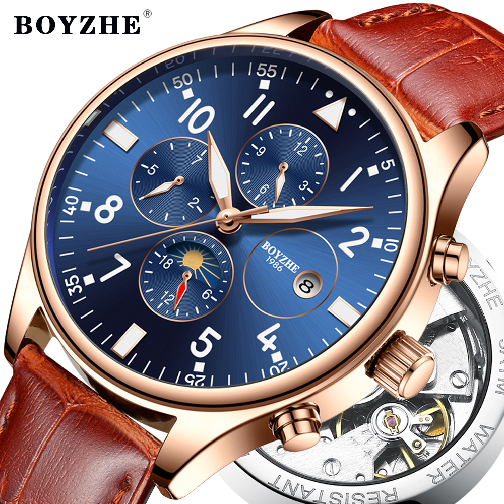 BOYZHE Mens Automatic Mechanical Watch Fashion Luxury Waterproof Time Calendar Business Leather Sports Watches Relogio Masculino