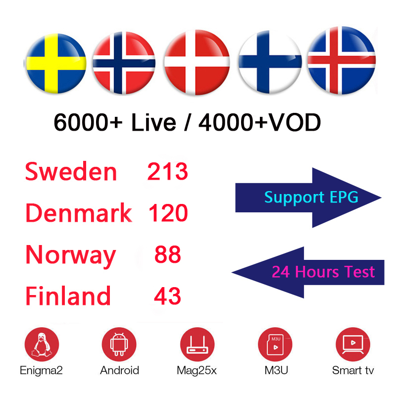 12 Months Scandinavian IPTV Nordic Sweden Norway Finland Denmark UK USA IPTV Subscription for TVIP 605