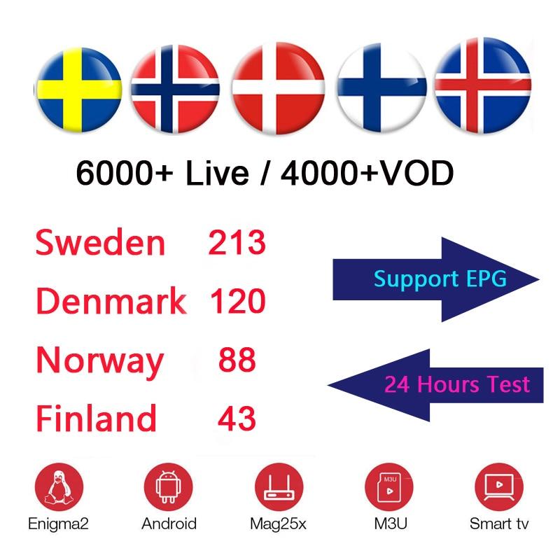 12 Months Scandinavian IPTV Nordic Sweden Norway Finland Denmark UK USA IPTV Subscription for TVIP 605