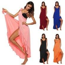 Sexy Backless Women Summer Solid Dress Hem Irregular V-neck Spaghetti Strap Women Long Cover ups Beach Dresses vestidos 5Colors