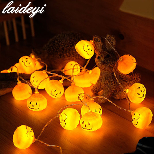 laideyi 2m 20 led pumpkin halloween string lights beads halloween indoor outdoor party diy decorations drop