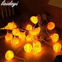 LAIDEYI 2M 20 LED Pumpkin Halloween String Lights Beads Halloween Indoor Outdoor Party DIY Decorations