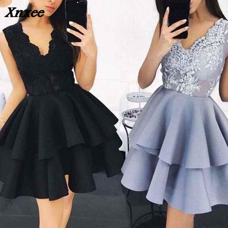 c2d1e03875d2d Women's Lace Sleeveless Dress Cake Dress Deep V collar Formal Prom ...