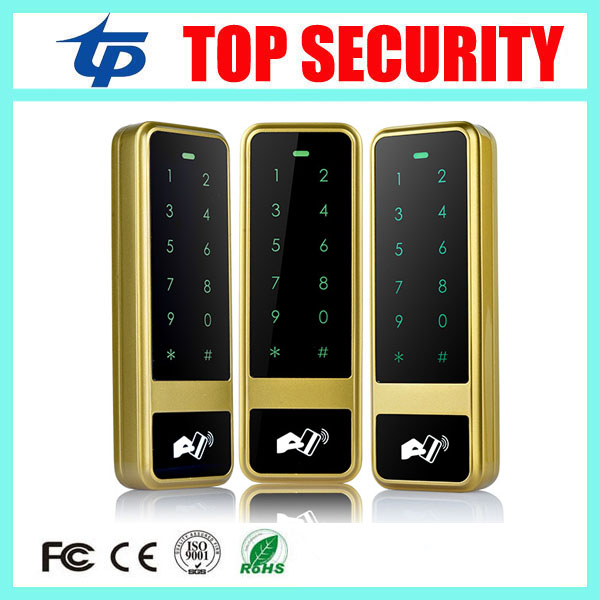 Golden color touch waterproof keypad metal access control system RFID card reader 125KHZ smart card access controller waterproof touch keypad card reader for rfid access control system card reader with wg26 for home security f1688a