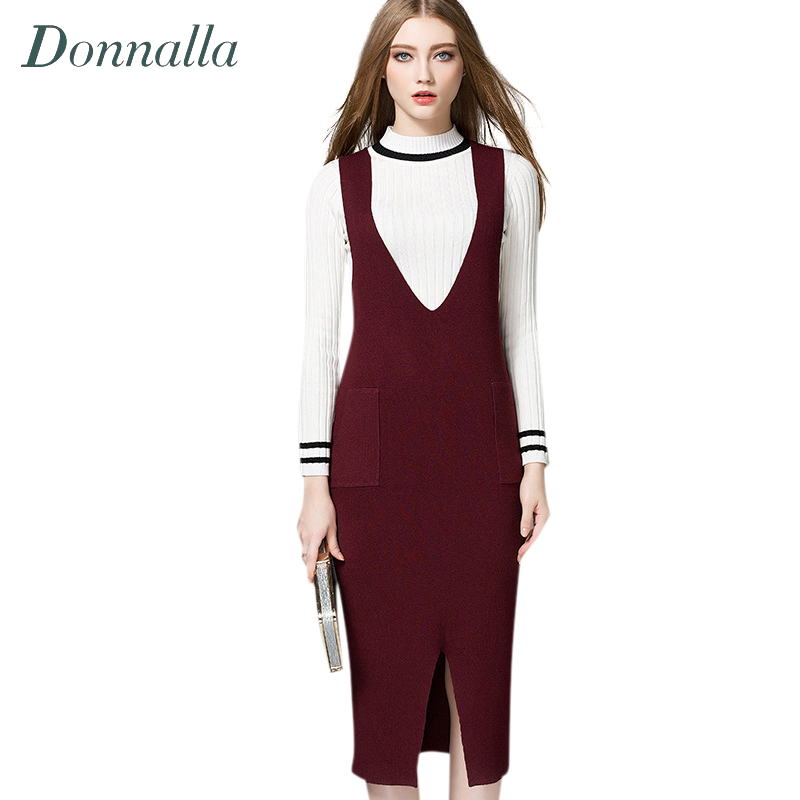 Women Dress Autumn Spring Open Slit V-Neck Sleeveless Overalls Dresses Fashion Ladies Casual Knitted Strap Slim Slit Dress kz ed2 special edition gold plated housing earphone with microphone 3 5mm hd hifi in ear monitor bass stereo earbuds for phone