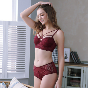 Image 2 - Sexy Lace Push Up Bra Underwear Set Lingerie for Women Embroidery Lace Bandage Bra Thick Padded Bra with Push up