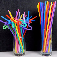 100pcs/lot Multicolor Flexible Drinking Straws Food Grade PP Long Bendy Straw Disposable Milk Tea Cocktail Straw Bar Accessories(China)
