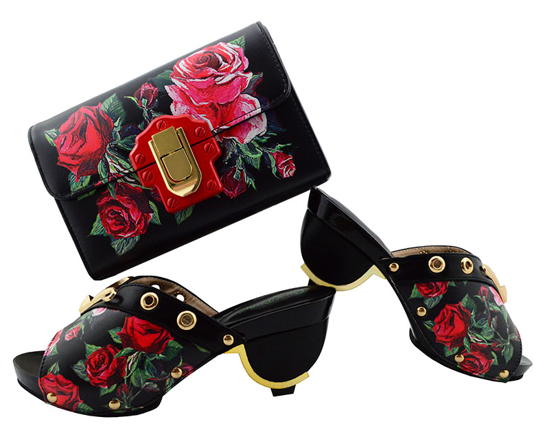 Black with flower Italian Shoes with Matching Bag Women Italian African Party Pumps Shoe and Bag Set metal Decorated girls flower decorated crochet bag