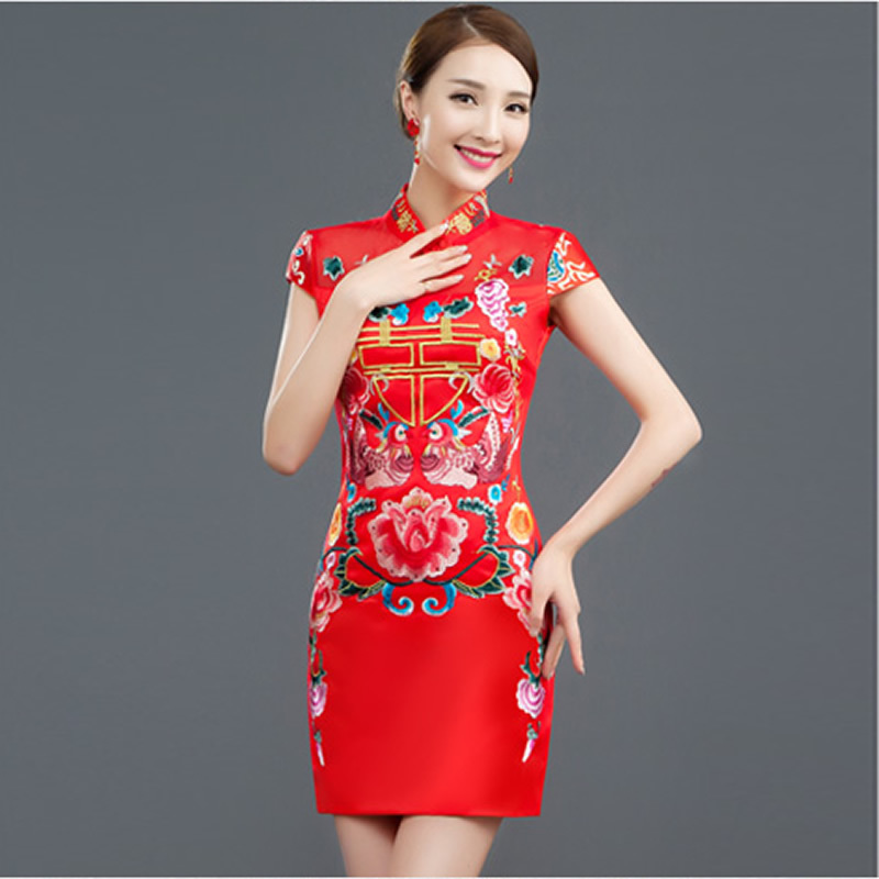 83df1383b37 Red Bride Wedding Qipao Long Cheongsam Dress Chinese Traditional ...