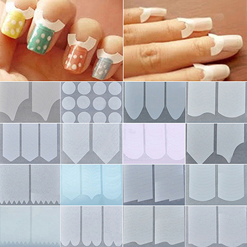 Hot item! 18 Packs French Stencil Nail Art Form Fringe Guides Manicure DIY Stickers Tips