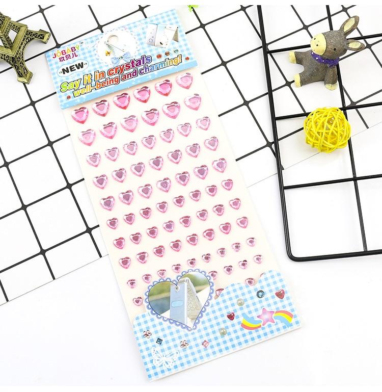 Детские игрушки наклейка в форме сердца DIY Наклейка мобильного искусства Кристалл бриллиант Стразы самоклеющиеся Скрапбукинг Стикеры s GYH - Цвет: Pink