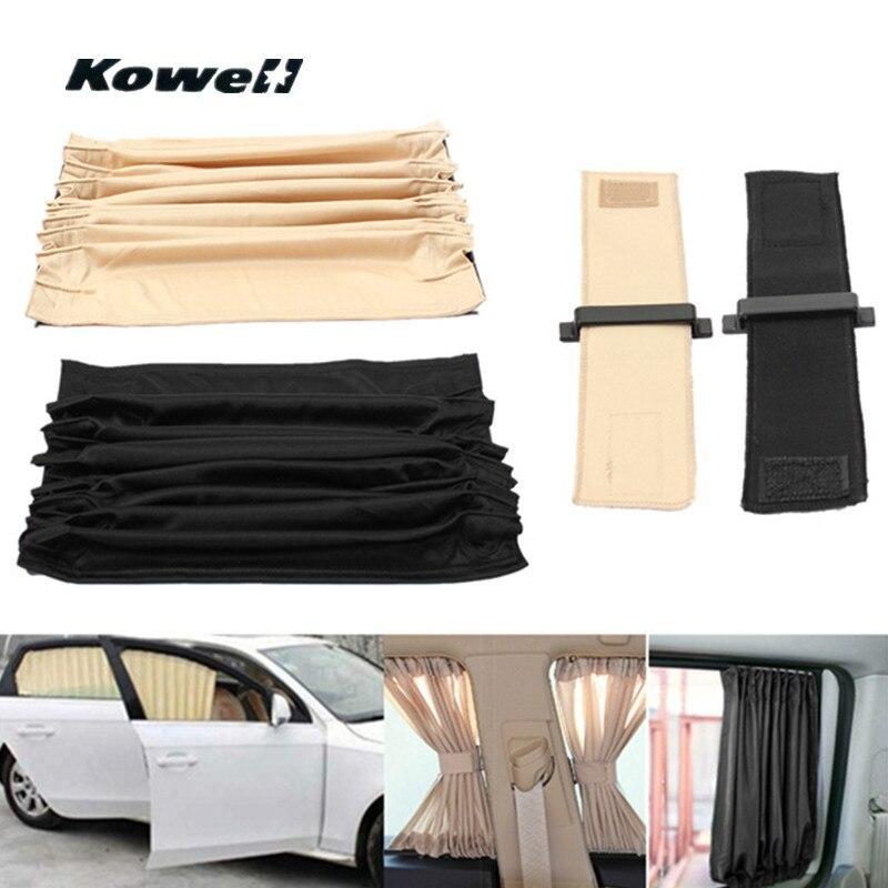 KOWELL 2 PCS Deslumbrante Carro Ajustável Universal Anti UV Protetor Solar Viseira Sunshield Sombrinha Auto Janela Cortinas Cortina Valência