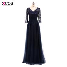 Elegant Plus Size Nave Blue 2018 Mother Of The Bride Dresses A line Chiffon Lace Wedding