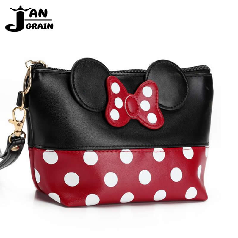 Travel Cosmetic Bag Cartoon Mickey Makeup Case Women Zipper PU Leather Make Up Organizer Storage Pouch Toiletry Wash Beauty Kit
