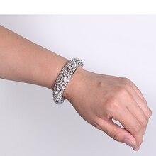 Oro y Plata Clásico Crystal Pave Enlace Brazalete de La Pulsera Joyería de Moda Llena de diamantes de Imitación para Las Mujeres Shipping (s0027)
