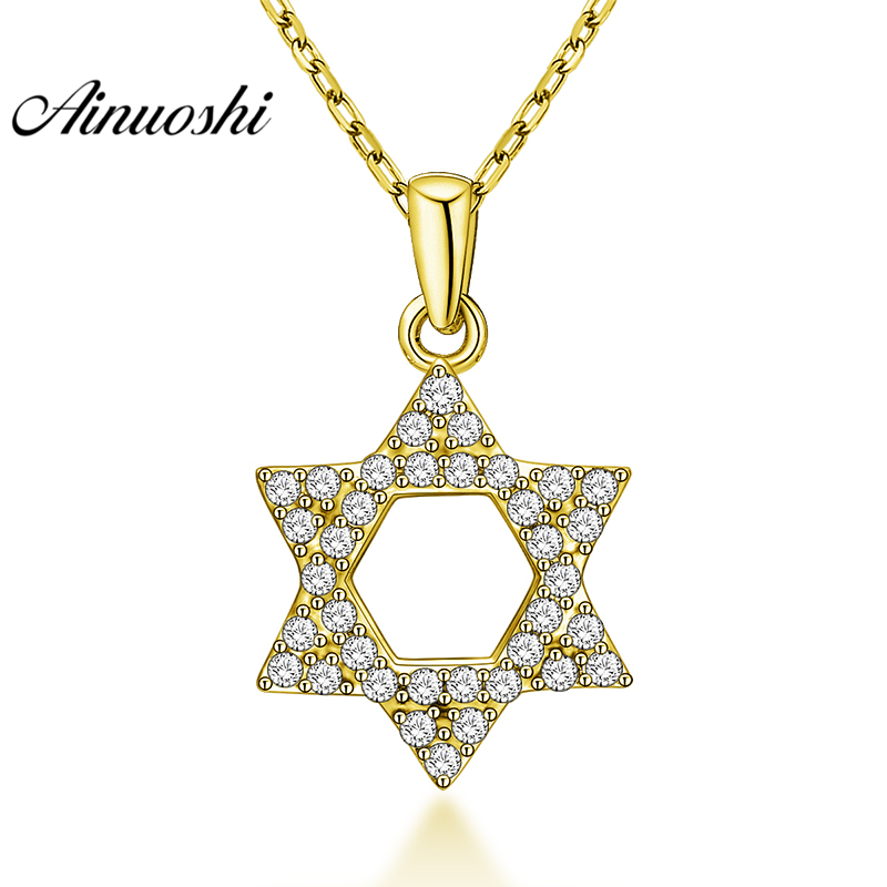 AINUOSHI 10K Solid Yellow Gold Pendant Geometric Pendant SONA Diamond Women Men Gold Jewelry Hollow Hexagonal Separate Pendant сотейник tvs petra d 28 см 784563