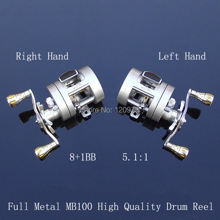цена на High Quality Full Metal Casting Drum Reel MB100--9BB 5.1:1 Trolling Wheel Left Hand or Right Hand Boat Fishing Reel