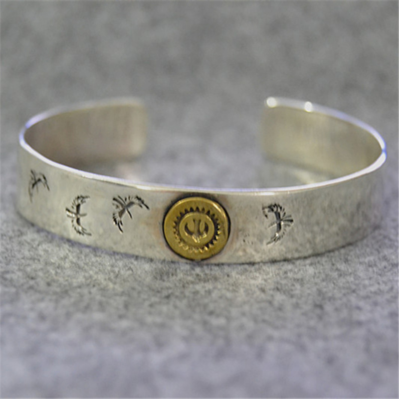 Indian Style Eagles Sterling Silver 925 Mens Cuff Bracelet Cool Personality Men Jewelry Handmade Thai Silver
