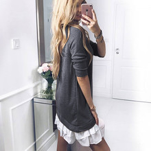 ELSVIOS Women elegant ruffled hem basic dress 2018 Fall long sleeve Patchwork Loose dress Ladies O-Neck mini party dresses 2XL