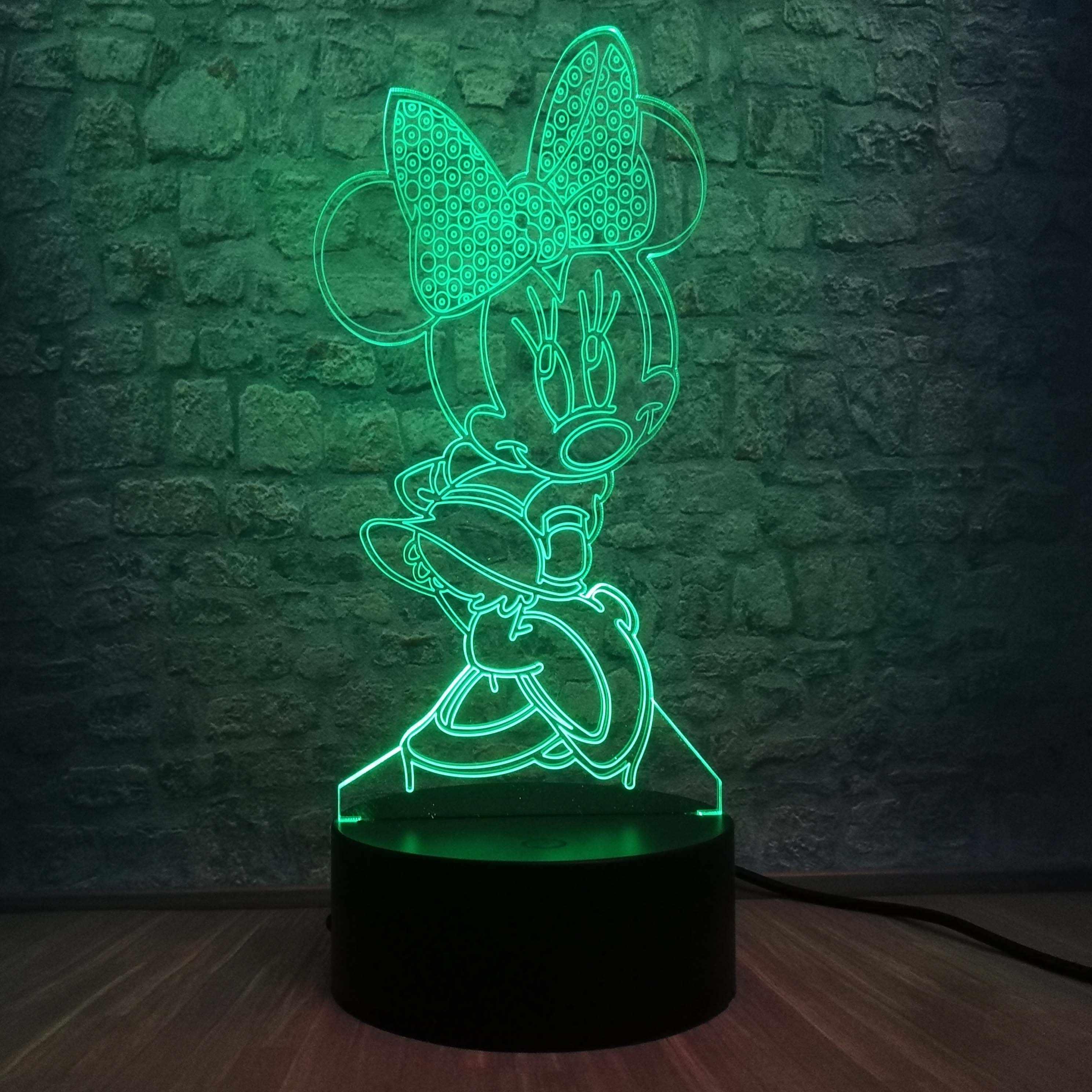 3D светодиодный светильник для спальни с изображением Минни Микки, настольный ночник, 7 цветов, лампа для украшения детской спальни, подарок для детей, Прямая поставка